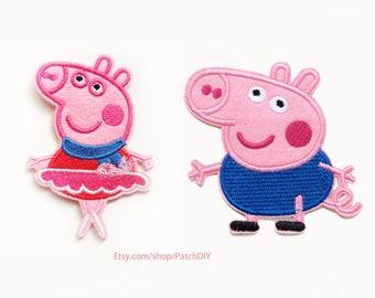2x ballerina PEPPA PIG + little brother George patch custom Iron On Embroidered Applique cartoon pink red fun kid diy tutu dancer dress