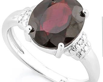 4 Carat Garnet and Diamond 925 Sterling Silver Ring