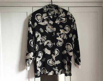 Vintage Shirt Button Down Black White Floral Blouse Elegant Smart Women Top Minimalist Style 1980s Loose Fit / Medium or Large size