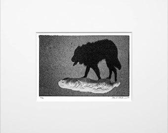 """Danilo Böhme """"Der Schatten"""", Schwarzweiß-Fotografie, FineArt Print im Passepartout, Original, Vintage Print, Limitiert, Handsigniert"""
