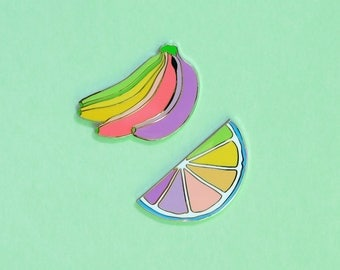 Fruity 2 Pack - Gold Plated Brass Hard Enamel Lapel Pins