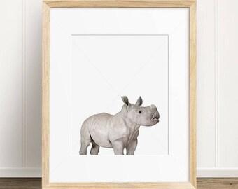 Nursery Decor Baby Rhino Print, Safari Nursery Animal, Digital Print, Rhino Wall Art, Instant Download Printable Art, Printable Wall Art