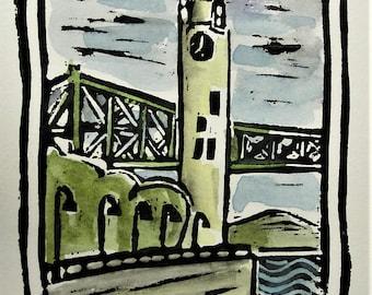 Tour de l'Horloge/Clock Tower Montreal,  Hand Watercolored Linocut Print by Richard Audet