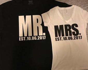 Mr.&Mrs. Tees - Couple Shirts - Honeymoon Tees - Travel Tees - Wedding Tees - His and Her Tees - Mrs.Tee - Mr. Tee - EST. Tees