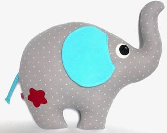 Elephant stuffed animal toy pillow gift decoration nursery cuddle cushion star birthday children sleep