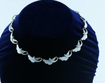 Vintage Norwegian white enamel necklace
