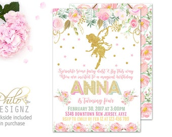 SALE Fairy Birthday Invitation, Fairy Birthday Party, Watercolor Floral Invitation, Girl Birthday Party Invitation, Gold Fairy Birthday