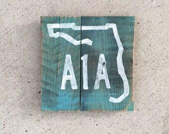 Florida Art, Beach Pallet Art, A1A painting, Marine wood art, Coastal Decor, Florida art