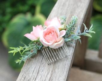 Bridal Hair Comb / Pink Flower Hair Comb/ Silk Rose / Wedding Hair Accessories / Prom / Bridesmaids / Flower girl / Coachella / Photoshoot