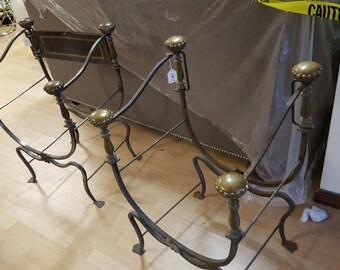 19 Century Italian Campaign Wrought Iron Chair