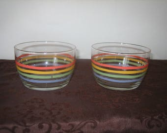 1960's Striped Glassware Vintage Striped Glass Snack Bowls Small Serving Bowls