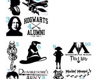 Harry Potter Vinyl Decal, Dark Mark decal, Snape Decal, Dobby Decal, Ministry of Magic, Sorting Hat Vinyl Decal, Hogwarts, Hermionie Decal