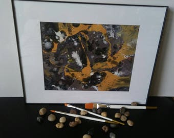 Original abstract painting, expression art, non-objective, acrylics on paper, decor, wall art