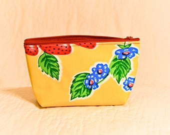 Oil Cloth Zipper Pouch Makeup Bag - Yellow Strawberries