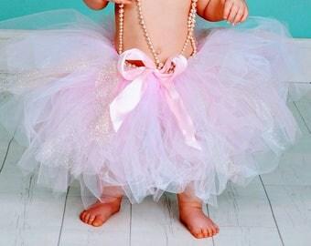 Baby-Toddler Girl Pink & Gold Tulle Tutu