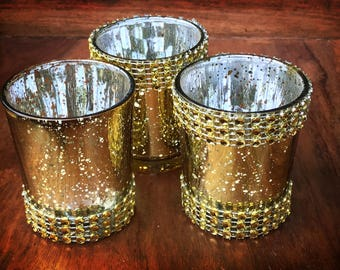 48 or 60 gorgeous rhinestone mercury glass gold votive candle holder 25 h speckled gold votives