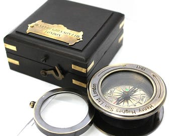 Brass Compass with Magnifying Glass – Brass Compass with Wooden Box