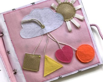 Quiet book PAGE, busy book, handmade sensory toy for girls