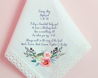 Baptism Handkerchief, Godparents Handkerchief, Godchild, Girl, Christening, baptism gift, Printed Hankie, Custom Handkerchief, Hankie - 141