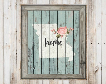 SALE-Farmhouse Barn Wood State With Home Wreath Print-Wall Art-Home Decor-Gallery Wall-Typography-Home