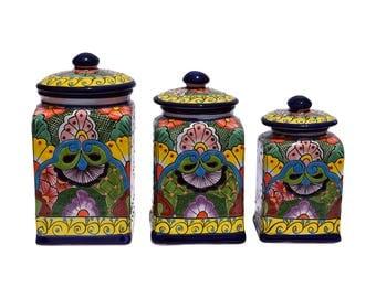 Talavera Ceramic Set Of Three Multi Color Design Kitchen Canisters Home Patio Garden Pottery Mexcian Decor