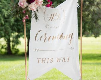 Wedding Banner Sign Rose Gold Vinyl Personalized