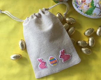 Small easter gift bag easter egg bag drawstring linen small linen easter gift bag easter egg bag drawstring handmade cross stitched negle Gallery