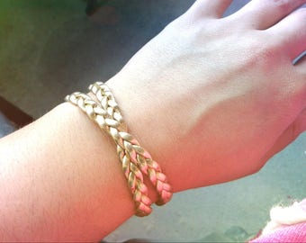 Double Wrapped Gold Braided Bracelet Double Layered Gold Bracelet Gold Braid Bracelet Braided Gold Bracelet Women's Bracelet