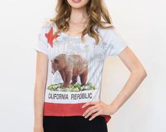 California, California Flag, California Shirt, Women's California Flag HI-LO Tee, Ladies shirt, California Bear Tee, High-low Cali Republic