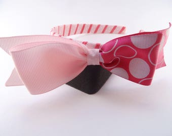Pink Headband with Dotted Ribbon