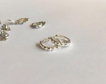 Sterling Silver Studded Huggie Hoop Earrings