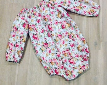 Floral girls romper