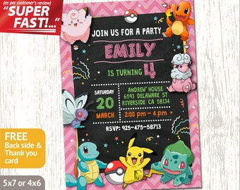 POKEMON BIRTHDAY INVITATION Girl, Pokemon Invitation, Pokemon Party, Pokemon Printable, Pokemon Custom, Free 4x6 Thank You Card, v1g