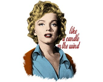 T-SHIRT: Marilyn Monroe / Candle in The Wind - Classic T-Shirt & Ladies Fitted Tee - (LazyCarrot)