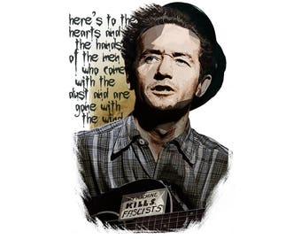 T-SHIRT: Woody Guthrie / Song To Woody - Classic T-Shirt & Ladies Fitted Tee - (LazyCarrot)