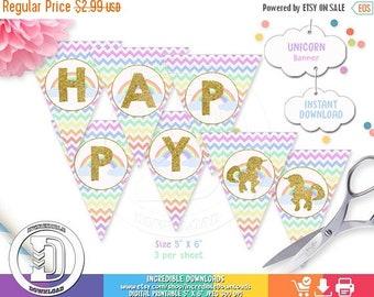 ON SALE Unicorn Birthday Banner, Rainbow Birthday Banner, Unicorn Birthday party decorations,  Party supplies INSTANT Download, Printable