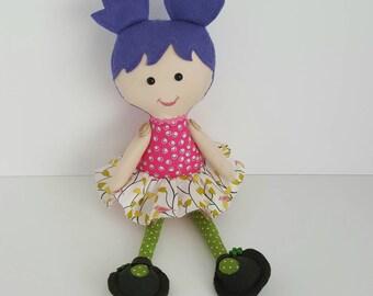 Girl's first or second birthday present. Rag doll, cloth doll, soft doll, girl soft rag doll, stuffed girl doll,  ballerina doll.