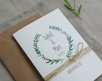 """Vintage wedding invitation card """"Juniper love"""""""