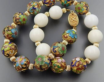Vintage sterling silver gilt cloisonne enamel white beads choker necklace