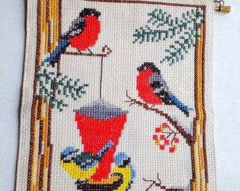 Vintage Handembroidered X-mas Wall Hanging with birds
