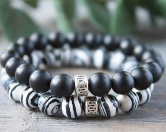 Black and White Long Distance Relationship Bracelet His and Hers Matching Couples Bracelets Boyfriend Girlfriend Set Stack of Two Bracelets