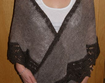 OOAK Hand Knitted Crescent Lace Shawl