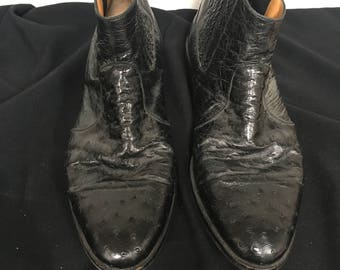Short Black Alligator Skin Shoes