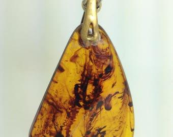 1960s Lucite Stylized Pendant,Brass fastener, Bijoux Cascio Chain.