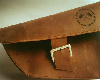 "Leather Bag/Ledertasche ""Café Racer"" - Vintage Design (Motorbikes/Motorrad) - Argentinian Leather"