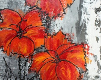 Fabric: red and orange flowers