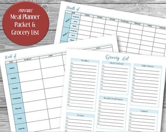 PRINTABLE Meal Planner Packet, Printable Meal Planner, Printable Grocery List, Printable Monthly Meal Planner, Printable Weekly Meal Planner