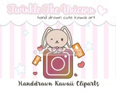 CHUBBY BUNNY - High quality png clipart - kawaii bunny - cute clip art - instant download- kawaii clipart