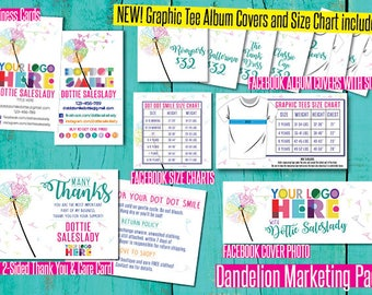 Customizable Dandelion Marketing Set Design Branding Kit Business Card Name Size Chart Signage Care Card sign Card TY Facebook consultant