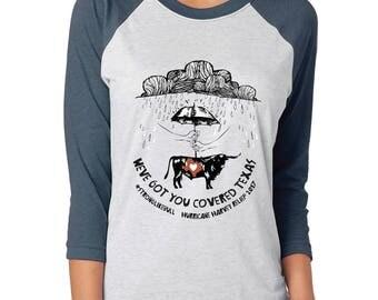 Hurricane Harvey Relief Fundraiser - Greater Houston AAZK Chapter- Original Artwork - Unisex Baseball Tshirt
